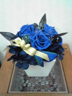 青い薔薇のブリザードフラワー