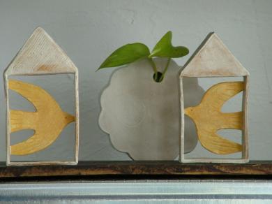 200228鹿児島黄色い鳥の家花器