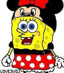 スポンジボブがミニーに変装画像