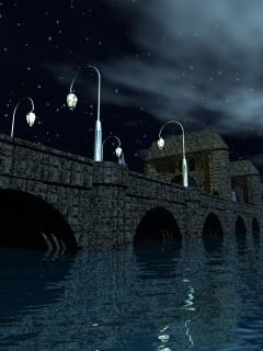 携帯待受け画像 夜の石橋