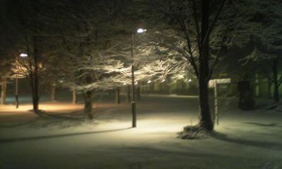 人文広場の雪景色