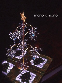 正解はワイヤーとガラス玉で出来た小さなクリスマスツリーでしたこの写真、もう少し加工したらクリスマスカードに使えそう