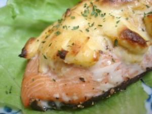 秋鮭のクリームチーズ焼き