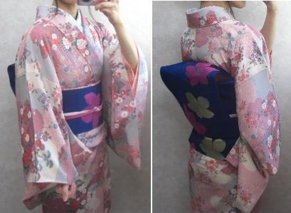 桃色小紋&青なごや帯