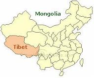 チベットとモンゴルの位置