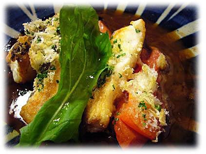 魚とトマトのチーズパン粉焼き