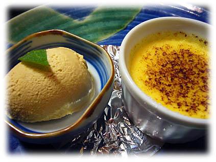 オレンジブリュレとキャラメルアイス