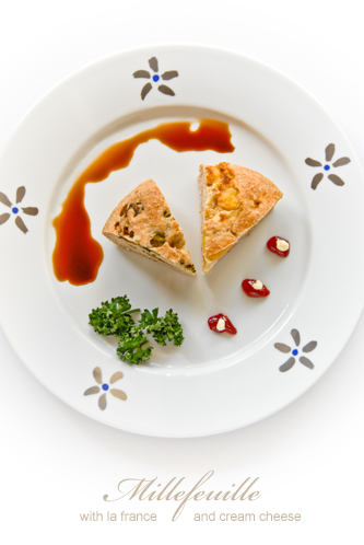 ラ・フランスとクリームチーズのミルフィーユパン