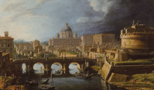 《サンタンジェロ城の見えるローマの景観》