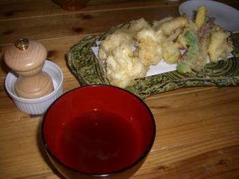 白子と野菜の天ぷら