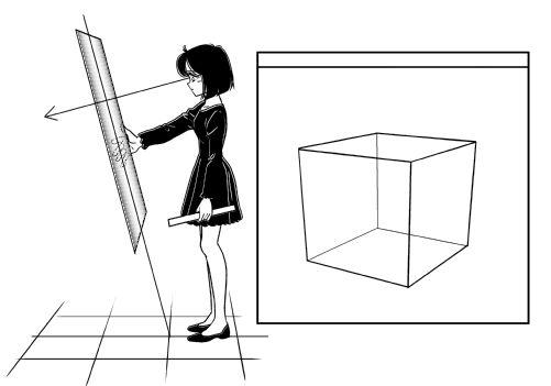 立方体三点透視