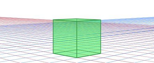 一点透視グリッド対角線立方体一つ