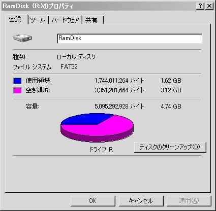 RamDiskのプロパティ