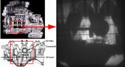 エンジン内部の潤滑オイル挙動を高速度撮影した写真