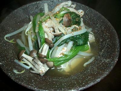 豆腐ともやしとほうれん草とシメジ、煮たやつ