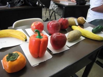 提出されたクレイ野菜・果物たち