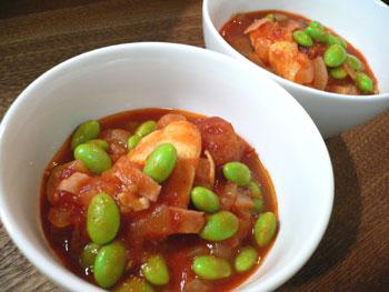 枝豆とチキンのトマト煮