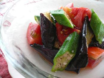 ナス×オクラ×トマトのサラダ