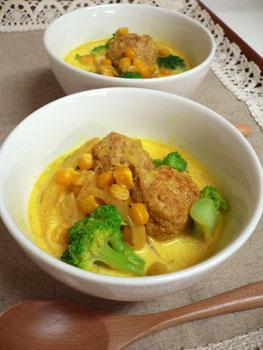 ミートボールとブロッコリーのミルクカレースープ