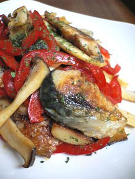 鯖のガーリック焼き