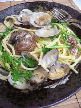 アサリと水菜のスープスパゲティ