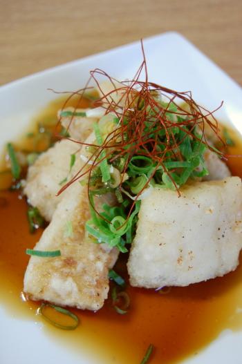 白身魚のネギポンソース