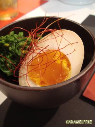 煮卵と菜の花のお浸し