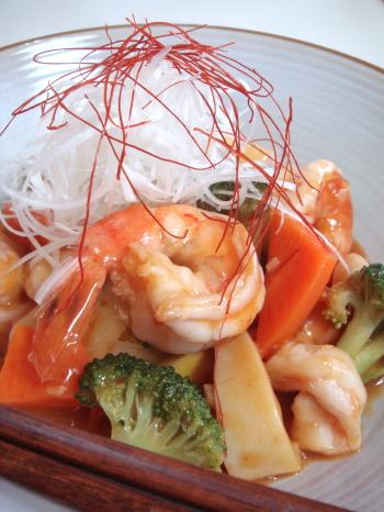 たくさん野菜の海老チリ