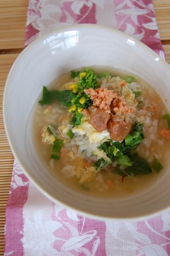 菜の花と鮭フレーク雑炊