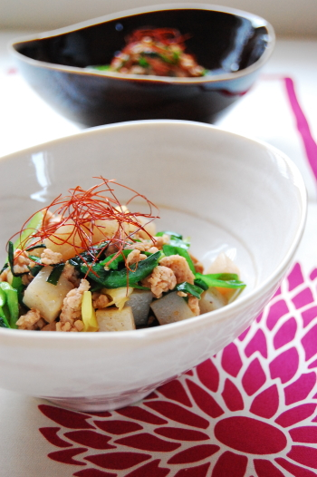 豚挽き肉とコンニャクの中華風炒め