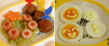 ソーセージリースと茹で卵ニコちゃん&雪だるま