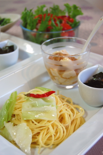 タップリ海苔の和風ペペロン☆お豆腐となめ茸かけ