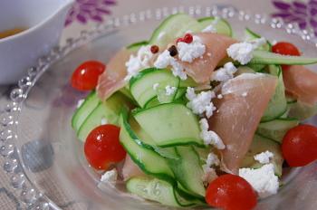 ペラペラ胡瓜と生ハムのサラダ