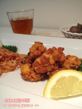 カリカリ紫蘇唐揚げna夕食