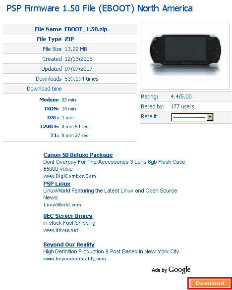 PSP-FW1.50ダウンロード①