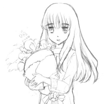 花束を抱えて