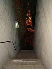 地下駐車場の階段から。