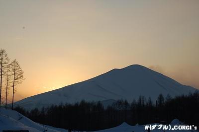 夕日の浅間山