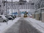 仮設住宅の除雪