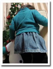 デニムのスカート。パパきちのGパンの裾です(苦笑)