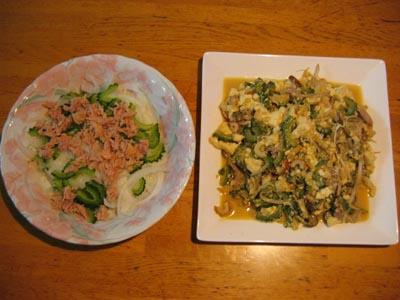 チャンプルとサラダ