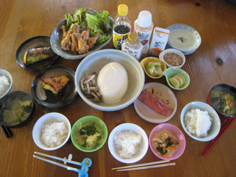 手羽元の照り焼き 焼き魚 明太子 湯豆腐