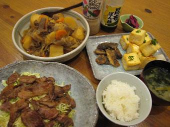 肉じゃが しし肉のショウガ焼き 豆腐のコロコロ