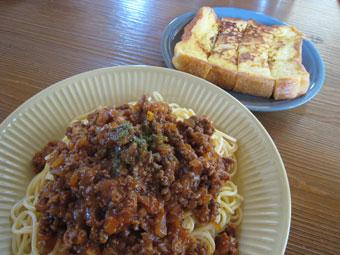 ミートスパゲティー フレンチトースト