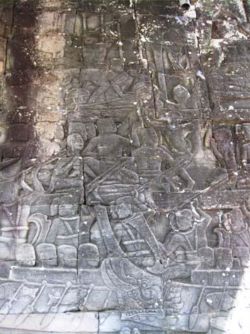 バイヨン13レリーフ水上の戦いクメール人