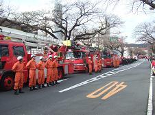 ずらりと並んだ消防車