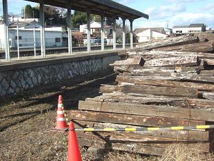 旧常陸太田駅の今は無き線路と枕木