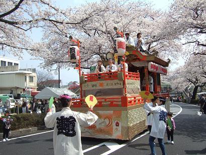 山車と満開の桜