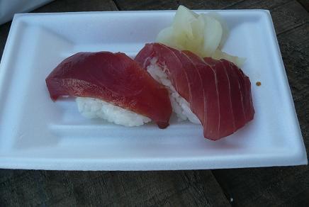 無料のまぐろ寿司をゲットです!