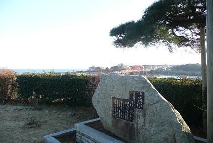 小説「海門橋」の碑から望む海門橋